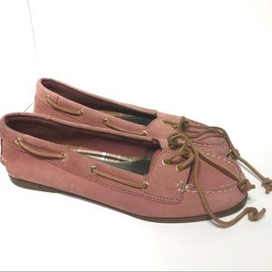 Pink Sperry leather boat shoes size 7